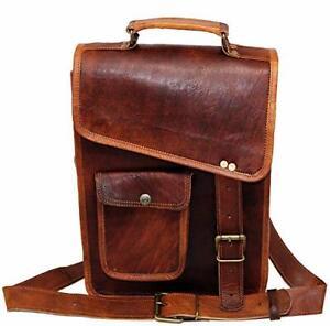 """9"""" distressed leather tablet sling side case crossbody shoulder sacthel bag"""