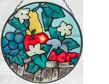 """NEW! Gorgeous Suncatcher Hand Painted Stained Glass Floral Fruit 4.5"""" Joan Baker"""