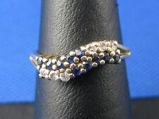 VINTAGE 14K YELLOW GOLD BLUE TOPAZ DIAMOND COCKTAIL RING SIZE 6