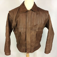 Vintage 80s 90s Army Military Wwii Style Leather Brown Tanker Bomber Jacket Coat