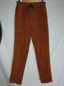 Boohoo Man Brown Cord Trousers Size M Drawstring Straight Leg Elasticated Waist