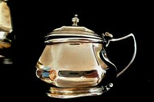 More details for solid silver mustard pot--blue glass liner-bham 1914--w.g.& s