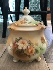 German or Czech Porcelain Biscuit Jar Roses RS Laurel Wreath Fall Decor