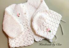 Handmade crochet baby set  Sweater bonnet - hat - girl- 0-3 months white