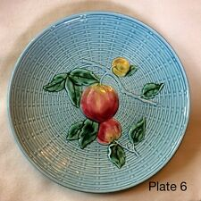 Majolica Schmider Zell Peach Plate Basketweave Turquoise Western Germany