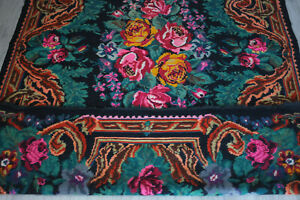 tapis rose kilim moldave Bessarabien Bessarabian Moldavian folk rug 300 x 198 cm