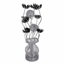 Modern Silver Black Aluminium Metal Vase Flowers Design Table Lamp by MiniSun