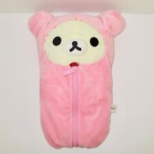 "Rilakkuma stuffed plush teddy bear San-X cream pink sleeping bag 14"" Kawaii"