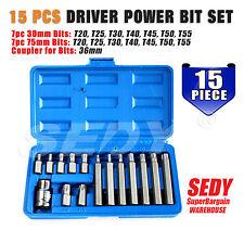 """15-Piece 1/2"""" Drive Torx Star Socket Bits Set T20-T25-T30-T40-T45-T50-T55"""