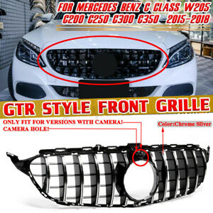 For Mercedes Benz W205 C200 C250 2015-2018 GT R Look Front Grill w/ Camera Hole