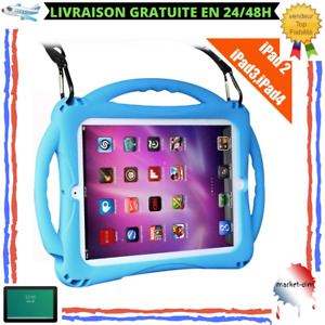 Coque Protection iPad 2/3/4 Enfant Silicone Antichoc Antidérapant Poignée Bleu