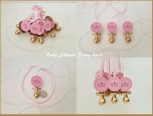 12 Princess Pacifier Necklace Baby Shower Favor Prize Game Its a Girl Decoration