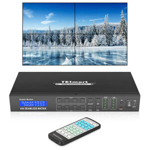 TESmart 4x4 HDMI Matrix Suppport 2X2 Video Wall Controller 4K@30hz HDCP1.4 RS232