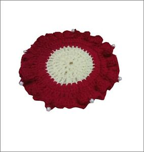 Crochet lace  round   Handmade  Table Mat 7.5 inch size use for  home decoration