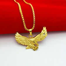 Mens Eagle Hawl Pendant 24k Gold Plated Necklace Chain Fashion Jewelry