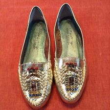 VTG West Coast Metallic Gold Beaded Leather Mocs loafers shoes flats Silver 2! 7