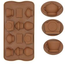 Tea Time Cupcake 3D Brick Mold Silicone Tray Chocolate Ice Cube Jelly Fun Mould