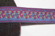 "5 yards purple periwinkle pink yellow woven jacquard ribbon trim 1"" wide"