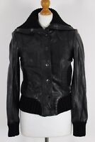 New - TED BAKER ARLENE Black LEATHER BOMBER JACKET / COAT Ted Size 1 - UK 8 BNWT