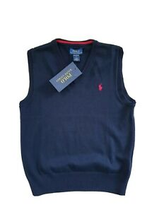 Ralph Lauren Boy Navy Blue pima cotton tank top vest jumper Size 6 7 years NWT