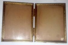 Bi-fold antique emboss brass gold metal double hinge photo frame