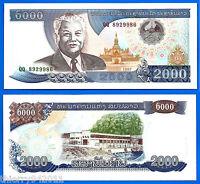 Lao 2000 Kip 1997 UNC Prefix QQ Laos Asia Banknote Kips Free Shipping Worldwide