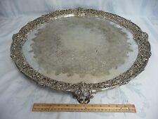 "MAGNIFICENT ANTIQUE 24"" SHEFFIELD ENGLAND ORNATE FOOTED SILVER PLATE TRAY"
