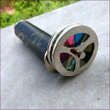 Antique Style Brass Double Wheel Kaleidoscope Leather Vintage Collectible Gift