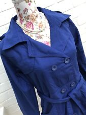 BNWT TG Mac Trench Coat Size 10 Cobalt Blue Jacket Lightweight