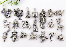 40Pcs Mixed Tibet silver Lovely Animal Charms Pendants  37mm-14mm M23