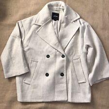 Monki oversized Coat Button Sz L Wool Blend Beige 3/4 Sleeve Winter