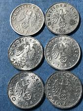 50 X 1 Reichspfennig Penny  Nazi Coin lot with Swastika 1940-1944 Hitler