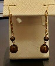 14 k yellow gold chocolate pearl drop earrings