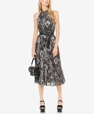 MICHAEL Michael Kors Silver and Black Metallic Midi Dress Size Extra Small