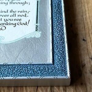 "Antique SILVER & BLUE ART DECO Faux Painted WOOD PICTURE FRAME Motto Print 16X6"""