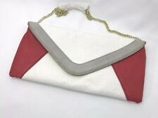 Steve Madden Envelope Clutch Purse Cross-Body Bag Gold Chain White Red Gray
