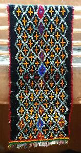 Moroccan tribal black wool runner rug  220 x 93cm  7ft3 x 3ft