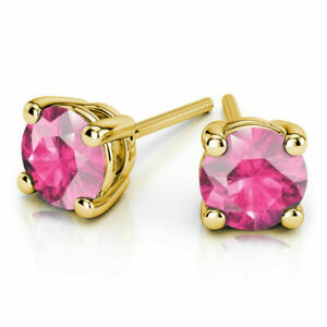 4.Ct Round Shape Natural Pink Sapphire Screw Back Stud 14K Yellow Gold Earrings