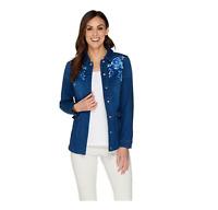 Isaac Mizrahi Live! TRUE DENIM Embroidered Jacket Medium Indigo Size 2