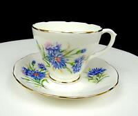 "DUCHESS CHINA ENGLAND #383 BLUE FLORAL 2 3/4"" FOOTED CUP AND SAUCER"