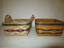 Longaberger Small Berry Set of 2 Award Baskets Green Red Navy Weaves Navy