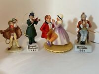 Lot of 4 Norman Rockwell Vintage Ceramic Christmas Ornaments Dave Grossman & ...