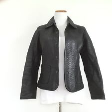 LIZ CLAIBORNE Black Quilted Leather Jacket Fully Lined Gorgeous Blazer Size 8P