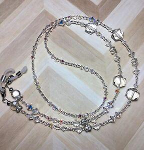 Handmade Clear Crystal ID Badge Holder/Eyeglass Chain W/Swarovski Elements USA