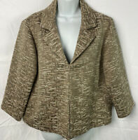 Chico's Women's Jacket Size 2 Metallic Blazer Large Lined Beige/Gold/Ivory NWOT