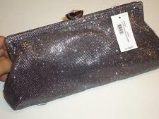 Jessica McClintock Glitter Jeweled Clasp Silver Bag-See Description for Pictures