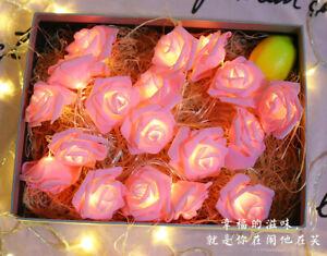 LED Rose Flower Fairy String Lights Bedroom Wedding Garden Party Christmas Decor