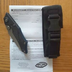 Microtech Select Fire Manual Stonewashed Combo Blade Aluminum Handles w/ Carbon