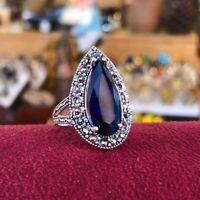 Hürrem Sultan Ring Edelstein Saphir - Markasit Silber 925 handgefertigt