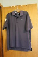 Adidas Climacool Men's Large Blue Short Sleeve Golf Polo Shirt  LOGO
